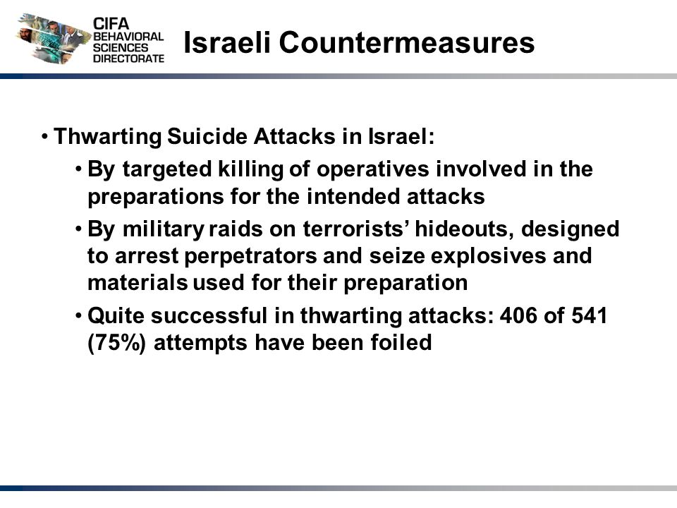 Israeli Countermeasures Thwarting Suicide Attacks in Israel: By targeted killing of operatives involved in the preparations for the intended attacks By military raids on terrorists' hideouts, designed to arrest perpetrators and seize explosives and materials used for their preparation Quite successful in thwarting attacks: 406 of 541 (75%) attempts have been foiled