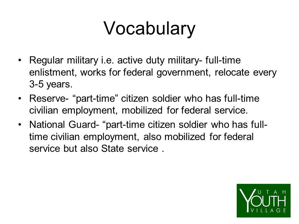Vocabulary Regular military i.e.