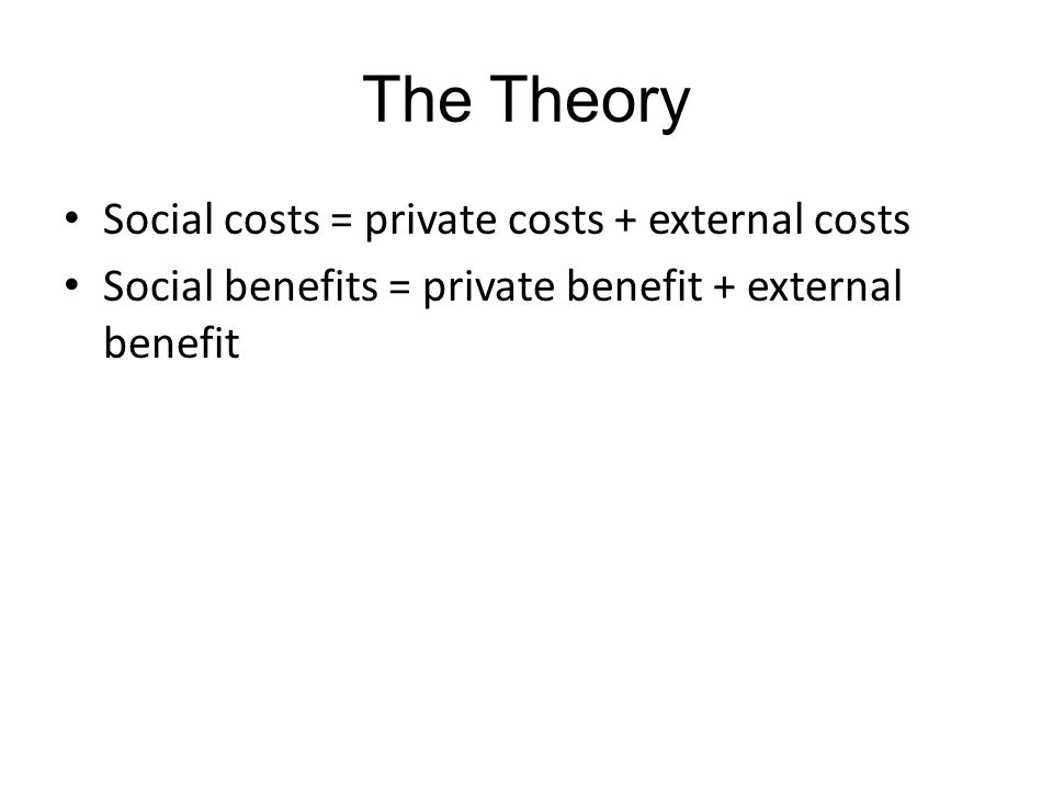 The Theory Social costs = private costs + external costs Social benefits = private benefit + external benefit