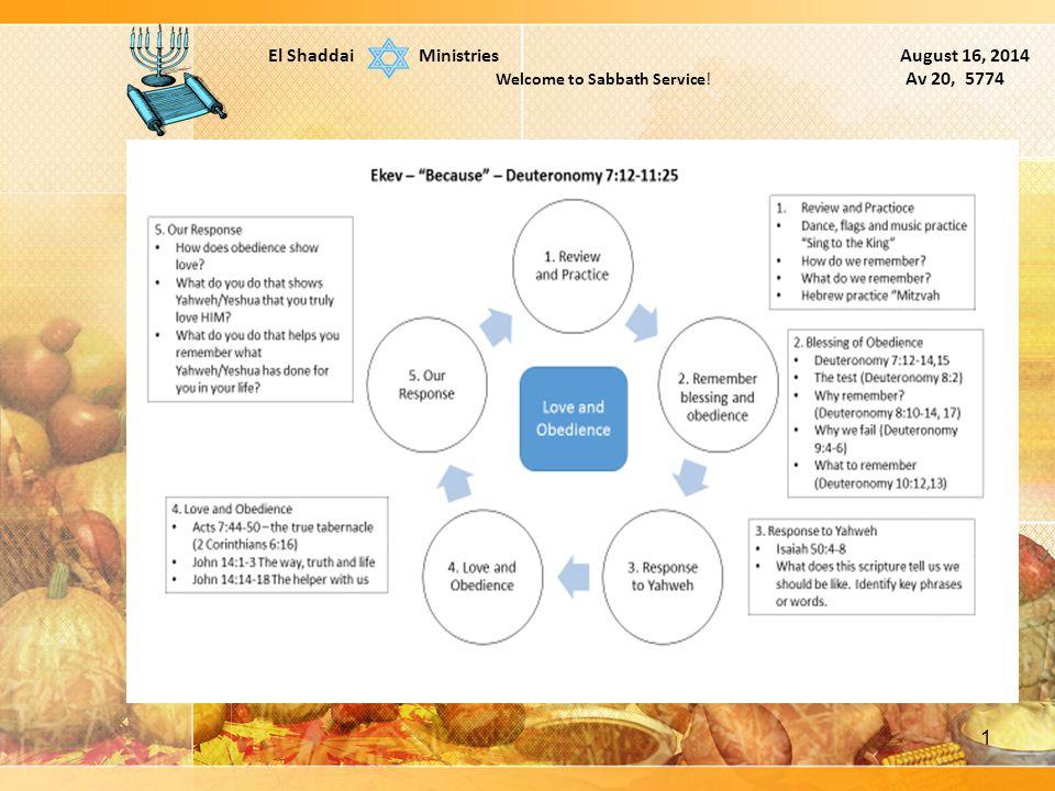 1 El Shaddai Ministries August 16, 2014 Welcome to Sabbath Service! Av 20, 5774