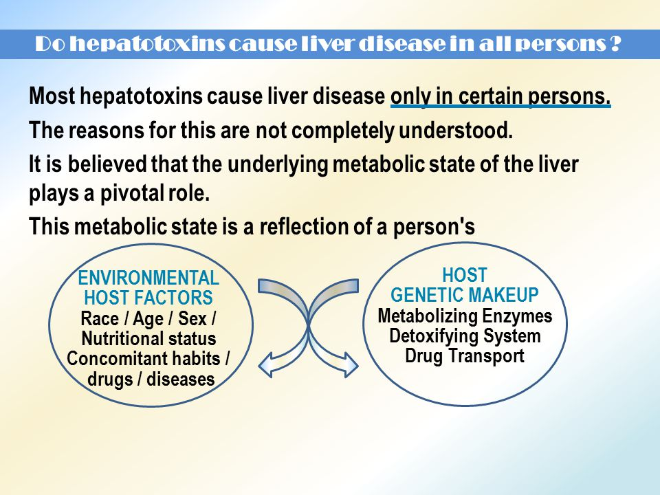 Do hepatotoxins cause liver disease in all persons .