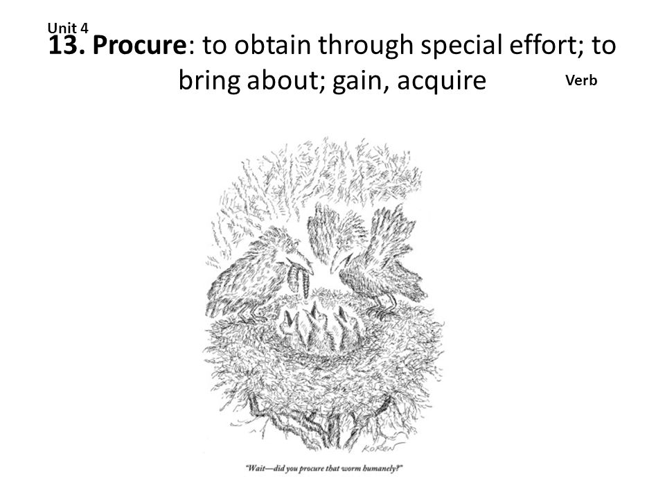 13. Procure: to obtain through special effort; to bring about; gain, acquire Unit 4 Verb