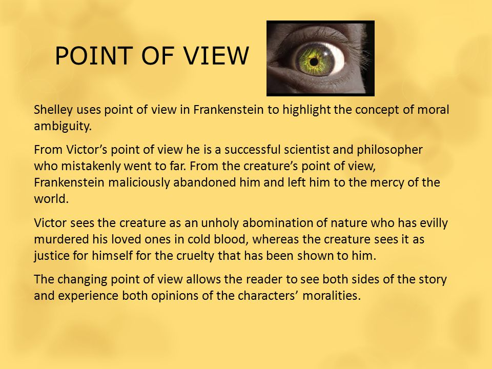 POINT OF VIEW Shelley uses point of view in Frankenstein to highlight the concept of moral ambiguity.
