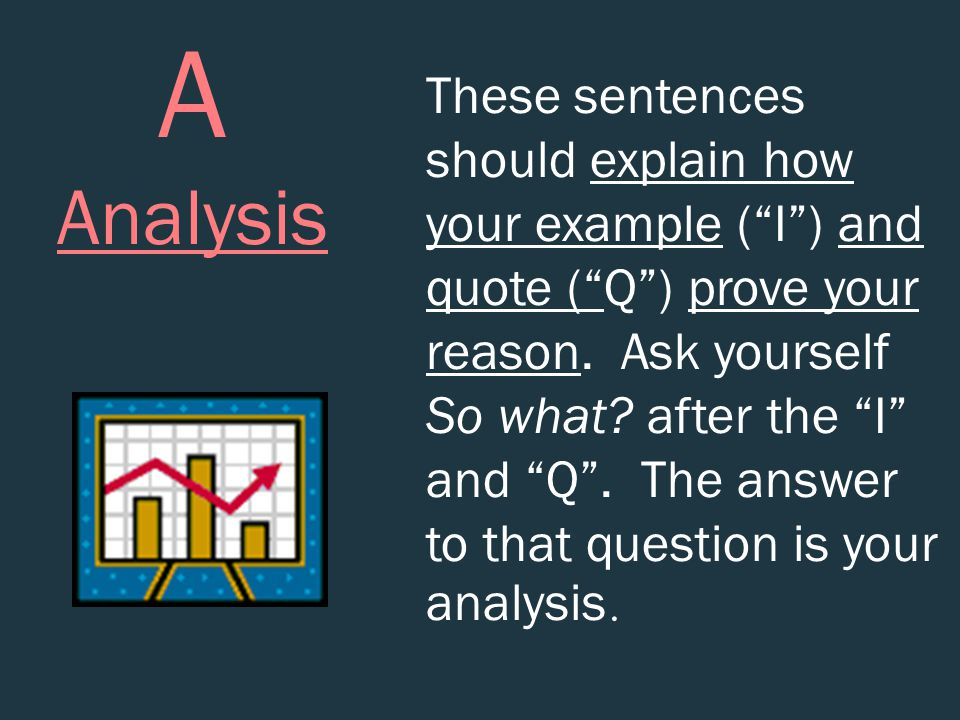 "A Analysis These sentences should explain how your example (""I"") and quote (""Q"") prove your reason. Ask yourself So what? after the ""I"" and ""Q"". The a"