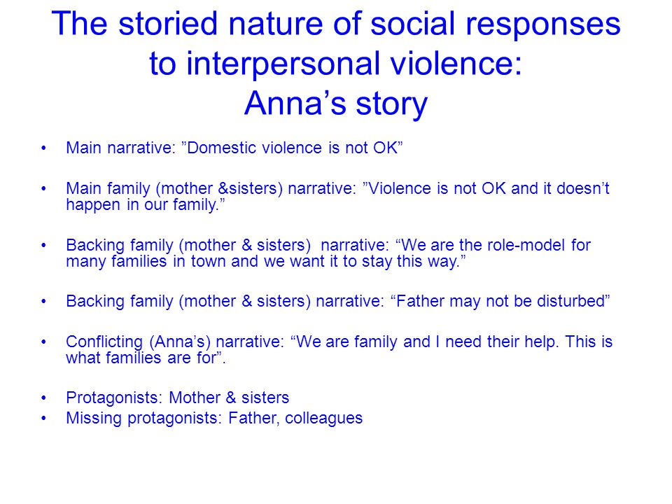 "The storied nature of social responses to interpersonal violence: Anna's story Main narrative: ""Domestic violence is not OK"" Main family (mother &sist"