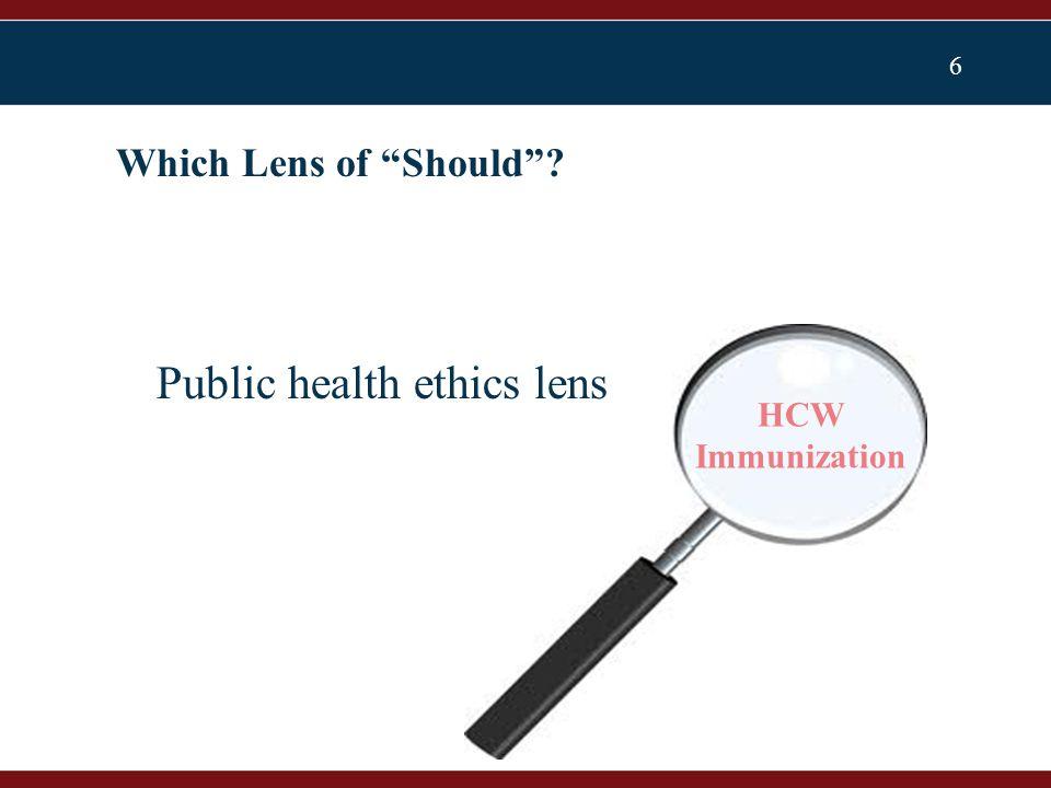 6 Which Lens of Should ? Public health ethics lens HCW Immunization