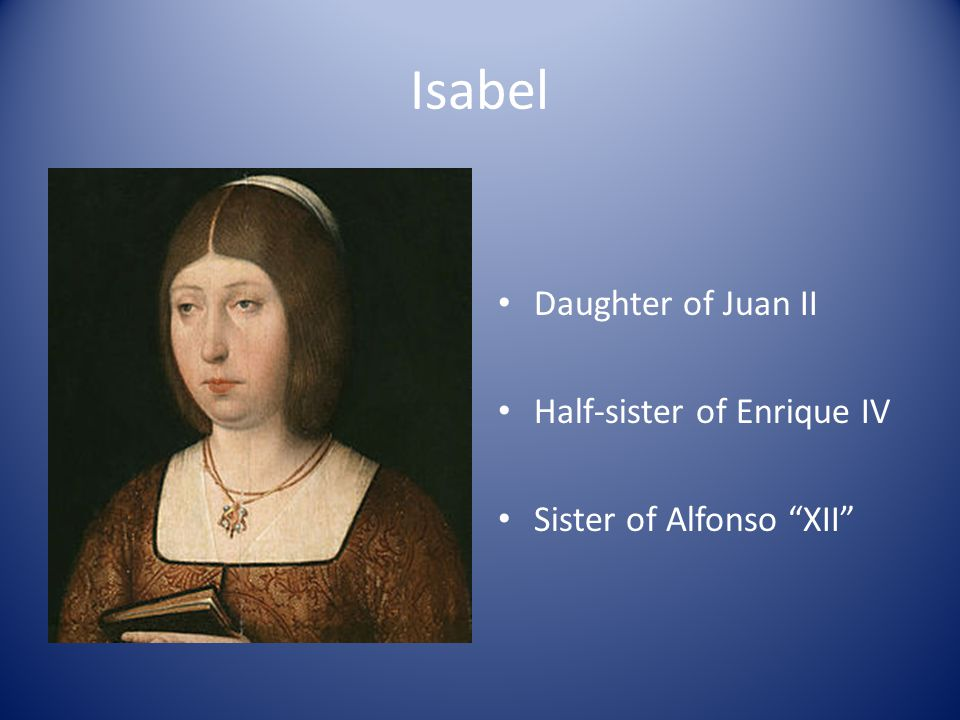 Isabel Daughter of Juan II Half-sister of Enrique IV Sister of Alfonso XII