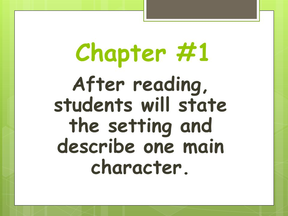 Activity for chapters 15-16  Write a prediction paragraph describing why Kate and Frank are being introduced at this point in the story.