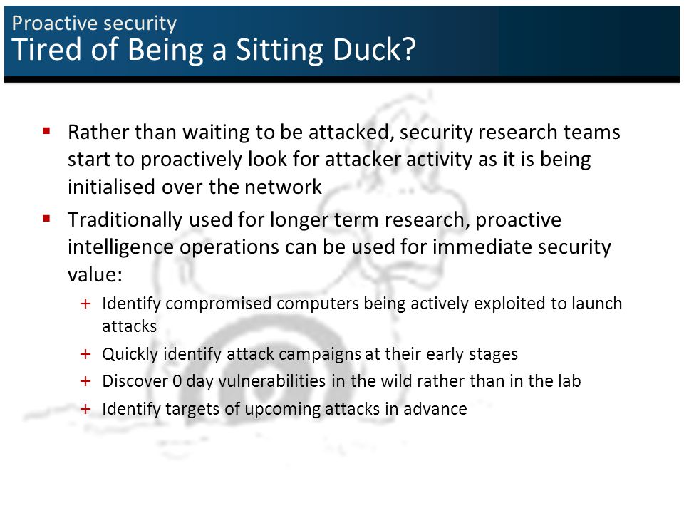 Proactive security Tired of Being a Sitting Duck.