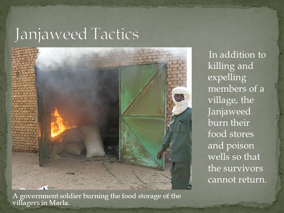 In addition to killing and expelling members of a village, the Janjaweed burn their food stores and poison wells so that the survivors cannot return.