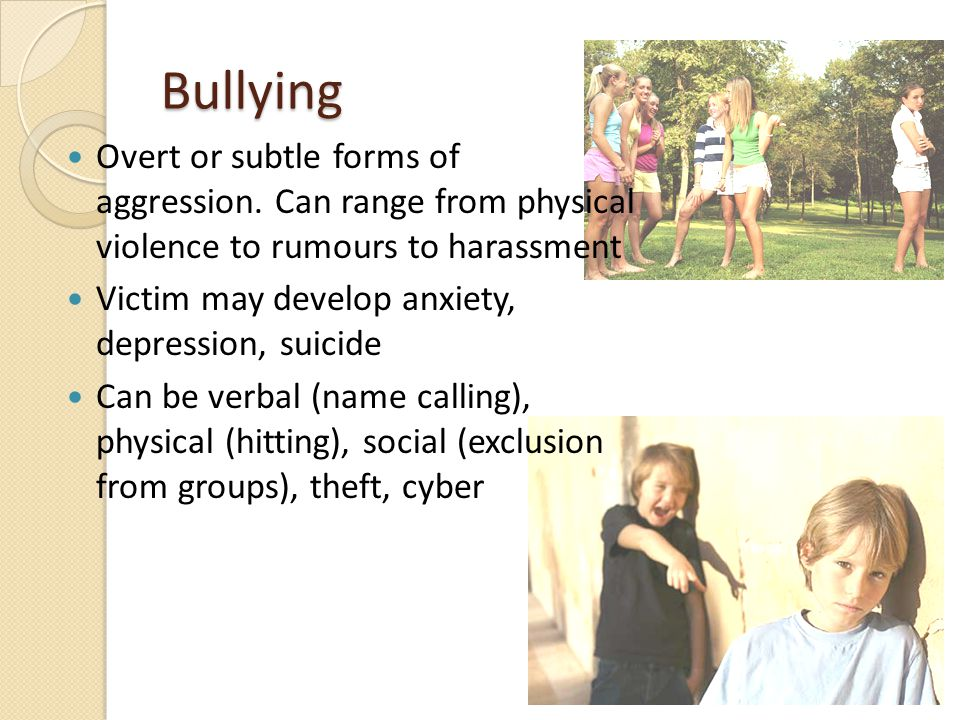 Bullying Overt or subtle forms of aggression.