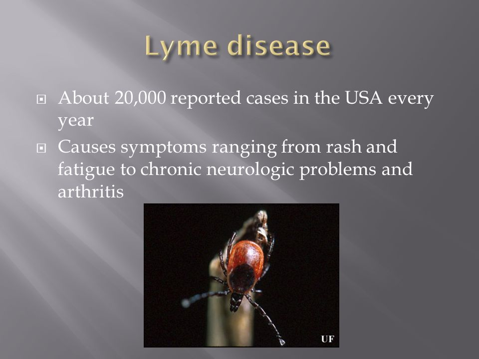  About 20,000 reported cases in the USA every year  Causes symptoms ranging from rash and fatigue to chronic neurologic problems and arthritis