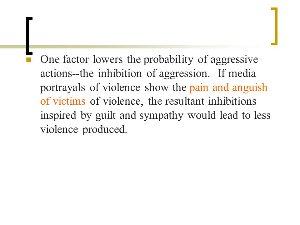 One factor lowers the probability of aggressive actions--the inhibition of aggression.
