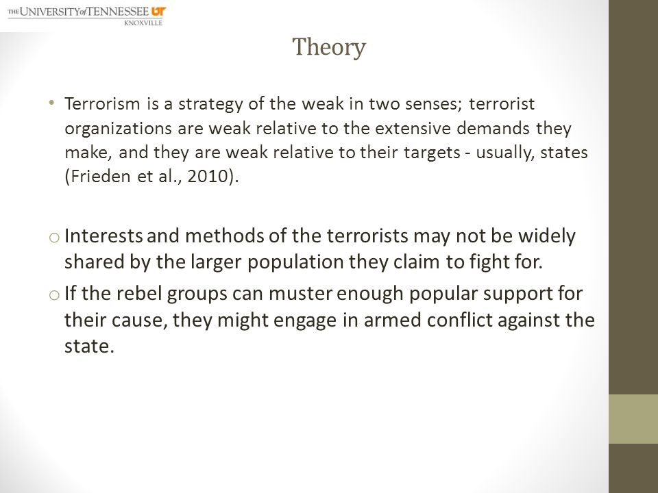Theory Terrorism is highly asymmetric warfare.
