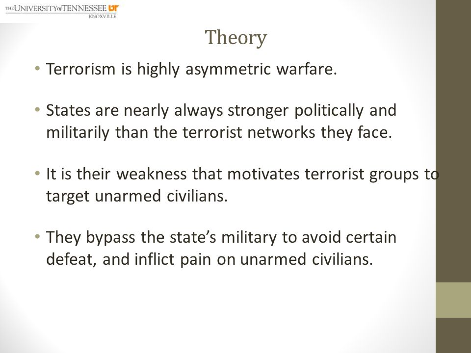 Theory The weakness of the terrorist groups influences: o their resource mobilization (criminal activities like drug trafficking, bank robbery and currency counterfeiting) o selection of weapons (Improvised Explosive Devises in most cases) o and their organizational structure (cell structure to evade detection and capture).