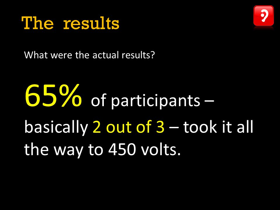 What were the actual results? 65% of participants – basically 2 out of 3 – took it all the way to 450 volts. The results