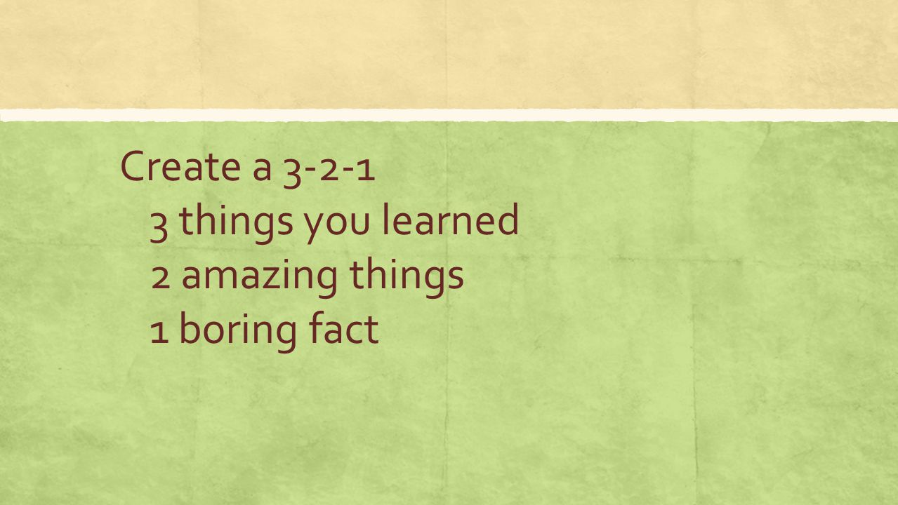 Create a 3-2-1 3 things you learned 2 amazing things 1 boring fact