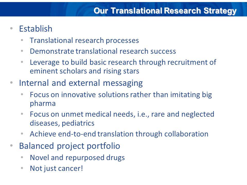 Establish Translational research processes Demonstrate translational research success Leverage to build basic research through recruitment of eminent