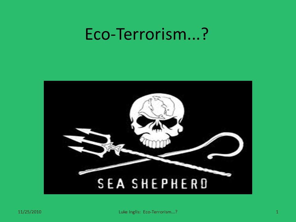 Eco-Terrorism Refers to acts of terrorism, violence or sabotage for ecological, environmental, or animal rights causes against persons or their property.