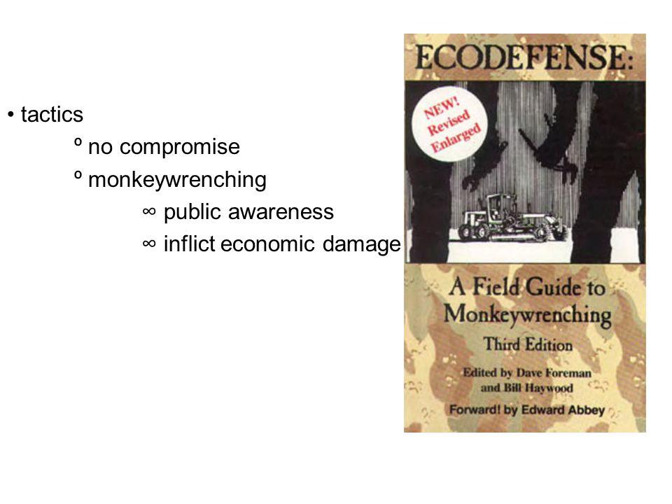 tactics º no compromise º monkeywrenching ∞ public awareness ∞ inflict economic damage