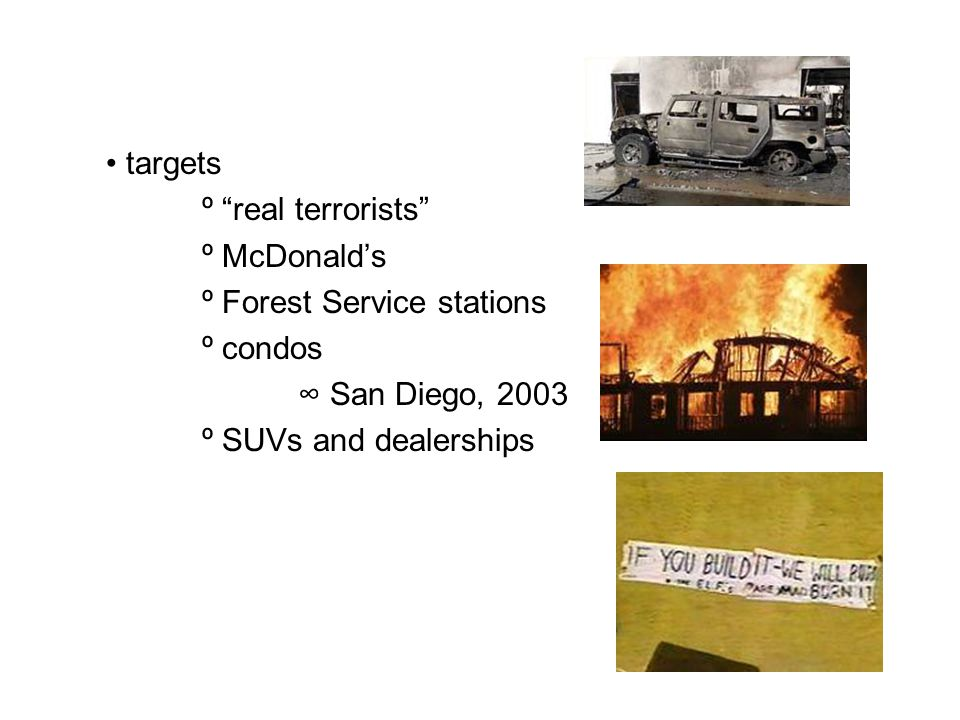 targets º real terrorists º McDonald's º Forest Service stations º condos ∞ San Diego, 2003 º SUVs and dealerships