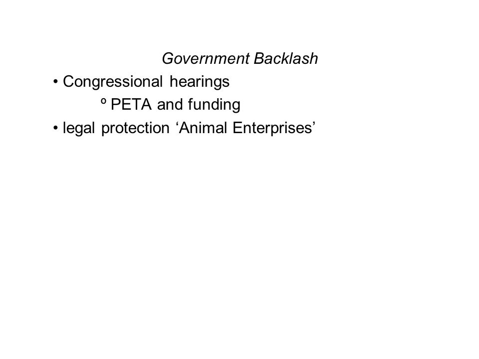 Government Backlash Congressional hearings º PETA and funding legal protection 'Animal Enterprises'