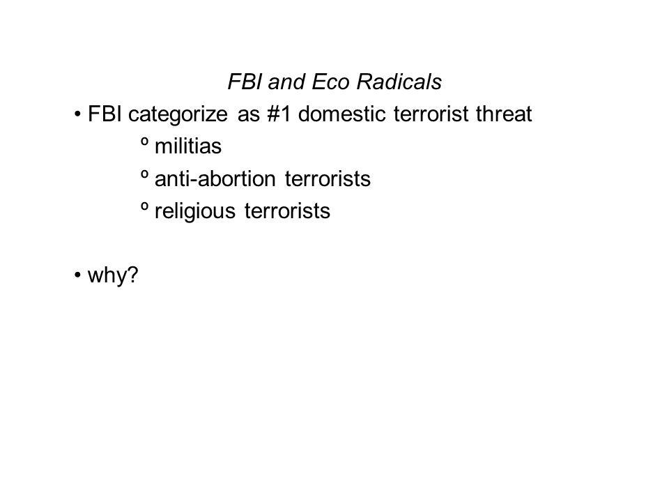 FBI and Eco Radicals FBI categorize as #1 domestic terrorist threat º militias º anti-abortion terrorists º religious terrorists why