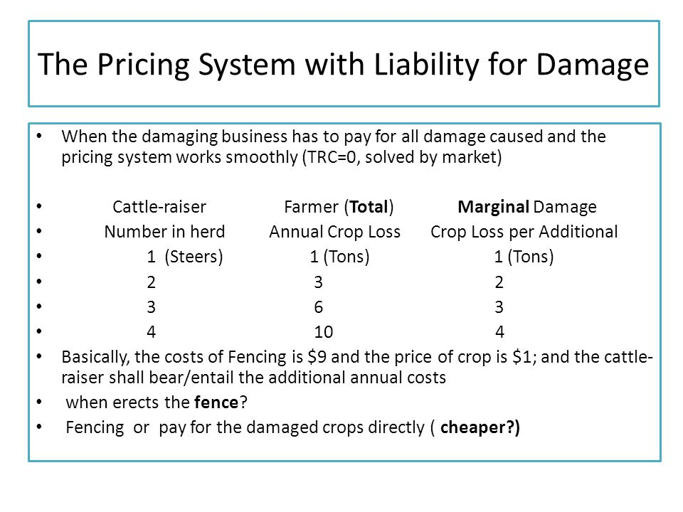 The Pricing System with Liability for Damage When the damaging business has to pay for all damage caused and the pricing system works smoothly (TRC=0, solved by market) Cattle-raiser Farmer (Total) Marginal Damage Number in herd Annual Crop Loss Crop Loss per Additional 1 (Steers) 1 (Tons) 1 (Tons) 2 3 2 3 6 3 4 10 4 Basically, the costs of Fencing is $9 and the price of crop is $1; and the cattle- raiser shall bear/entail the additional annual costs when erects the fence.