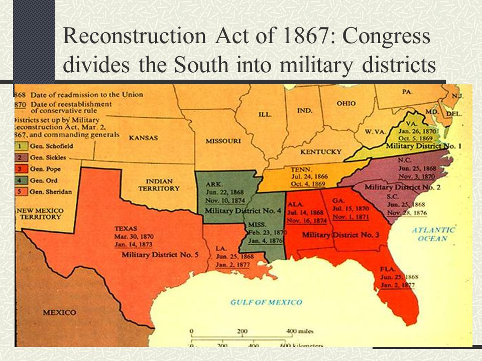 Reconstruction Act of 1867: Congress divides the South into military districts