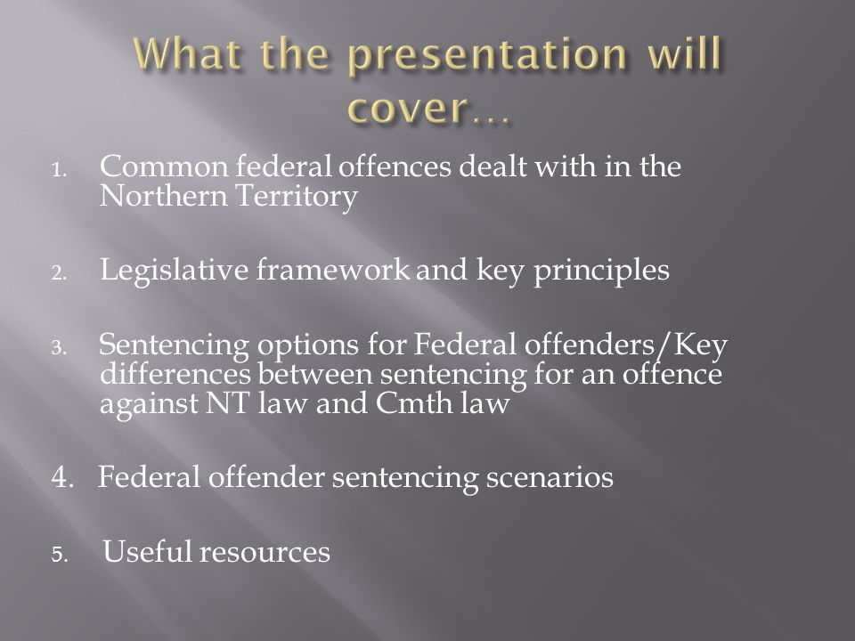 Crimes Act 1914 Federal Sentencing in Victoria (CDPP website www.cdpp.gov.au) www.cdpp.gov.au Commonwealth sentencing database (www.njca.com.au/sentencing)www.njca.com.au/sentencing Odgers, Stephen, Sentence: the law of sentencing in NSW courts for State and Federal Offenders , 2012.