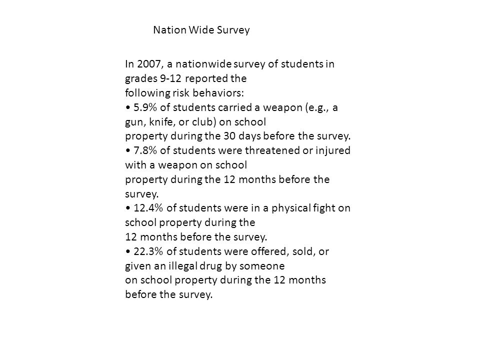 In 2007, a nationwide survey of students in grades 9-12 reported the following risk behaviors: 5.9% of students carried a weapon (e.g., a gun, knife, or club) on school property during the 30 days before the survey.