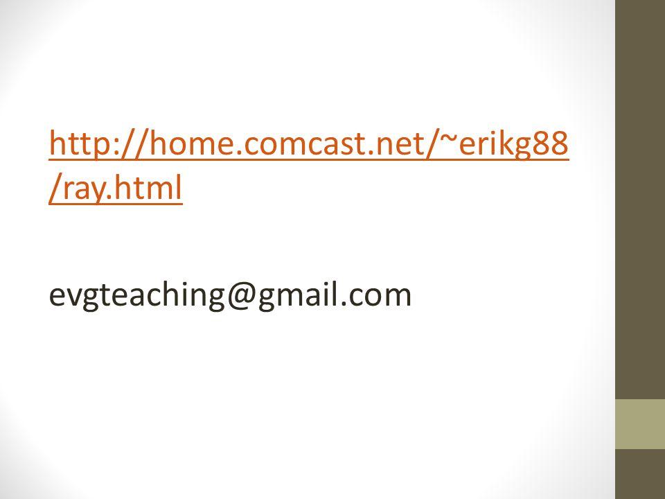 http://home.comcast.net/~erikg88 /ray.html evgteaching@gmail.com