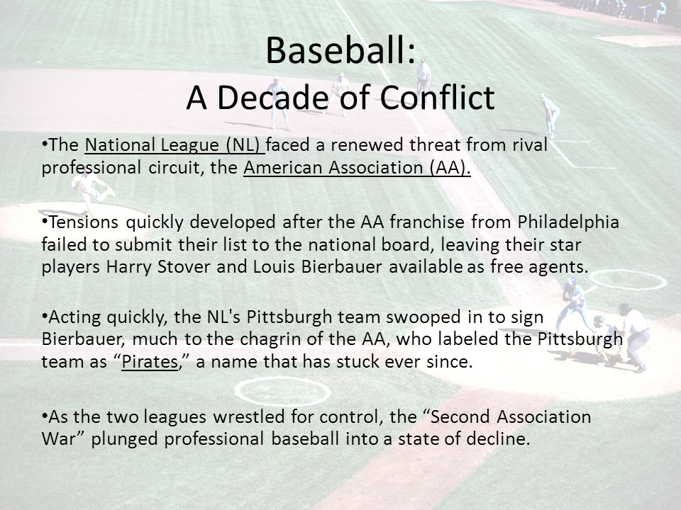Baseball: A Decade of Conflict The National League (NL) faced a renewed threat from rival professional circuit, the American Association (AA).