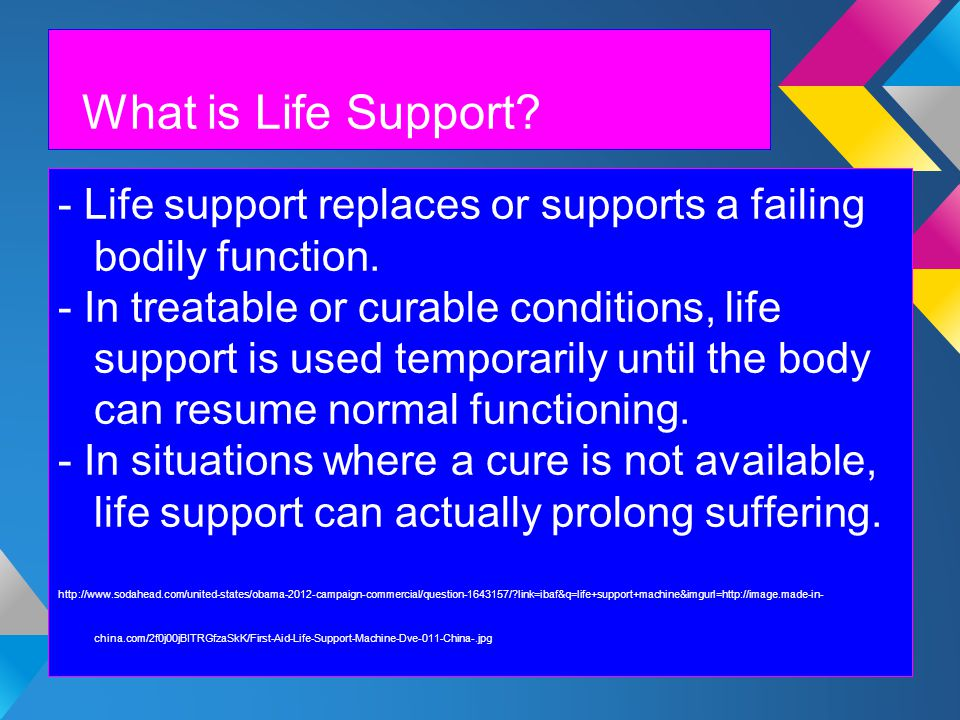 What is Life Support. - Life support replaces or supports a failing bodily function.