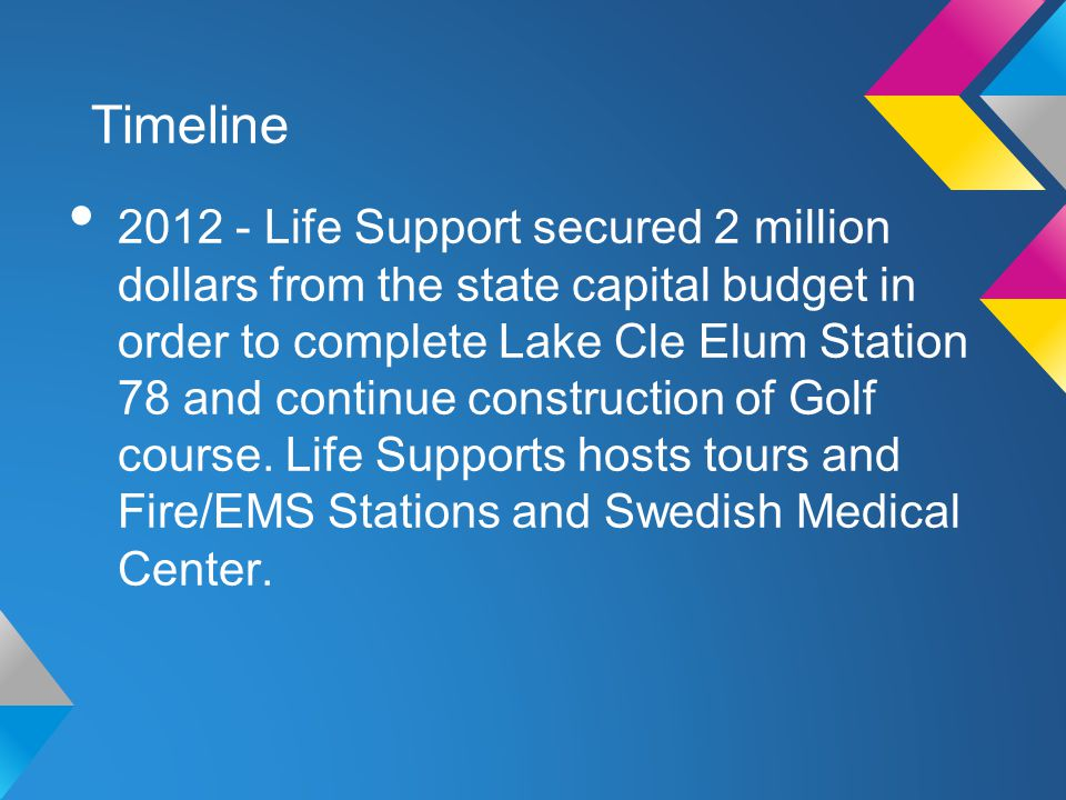 Timeline 2012 - Life Support secured 2 million dollars from the state capital budget in order to complete Lake Cle Elum Station 78 and continue construction of Golf course.