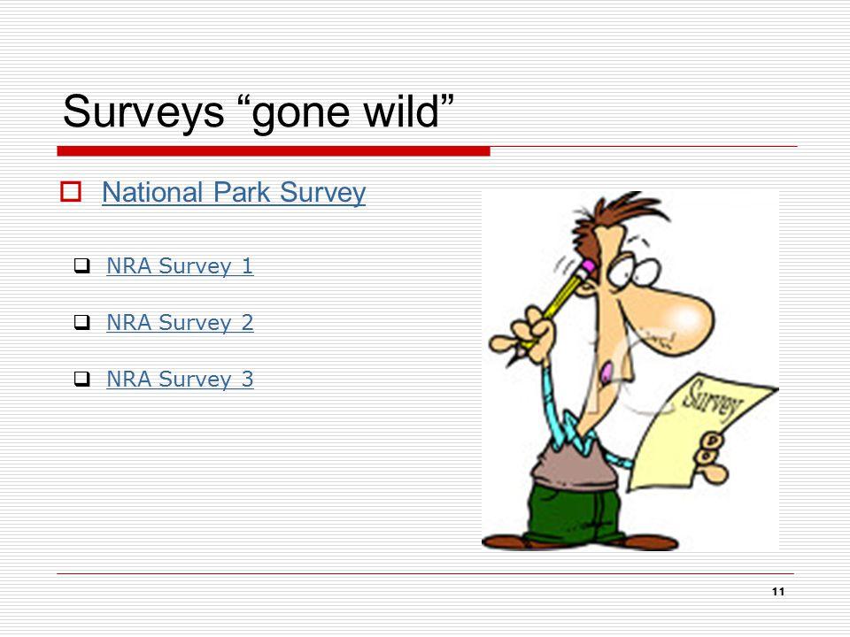 Surveys gone wild  National Park Survey National Park Survey 11  NRA Survey 1NRA Survey 1  NRA Survey 2NRA Survey 2  NRA Survey 3NRA Survey 3