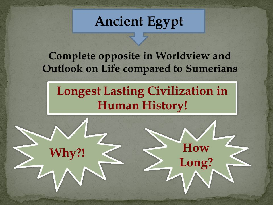 Ancient Egypt Complete opposite in Worldview and Outlook on Life compared to Sumerians Longest Lasting Civilization in Human History.