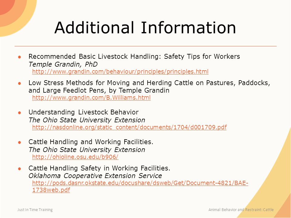 Additional Information ●Recommended Basic Livestock Handling: Safety Tips for Workers Temple Grandin, PhD http://www.grandin.com/behaviour/principles/