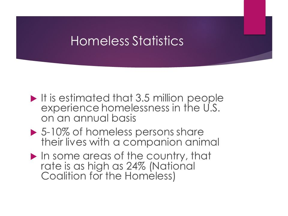 Homeless Statistics  It is estimated that 3.5 million people experience homelessness in the U.S.
