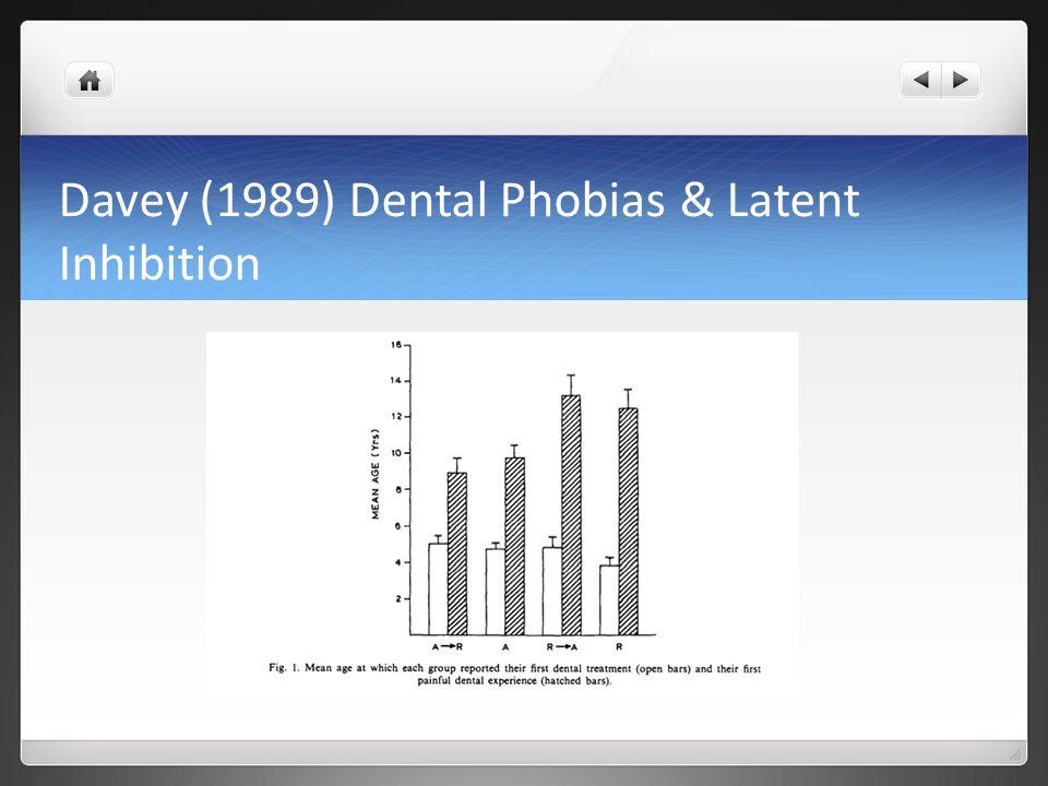 Davey (1989) Dental Phobias & Latent Inhibition