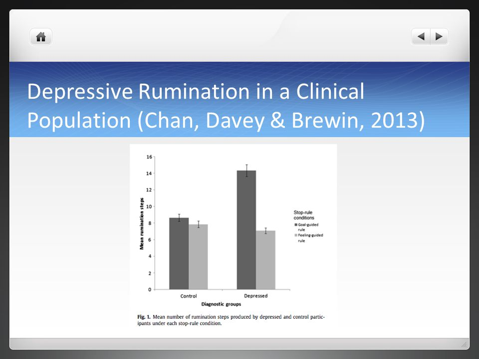 Depressive Rumination in a Clinical Population (Chan, Davey & Brewin, 2013)