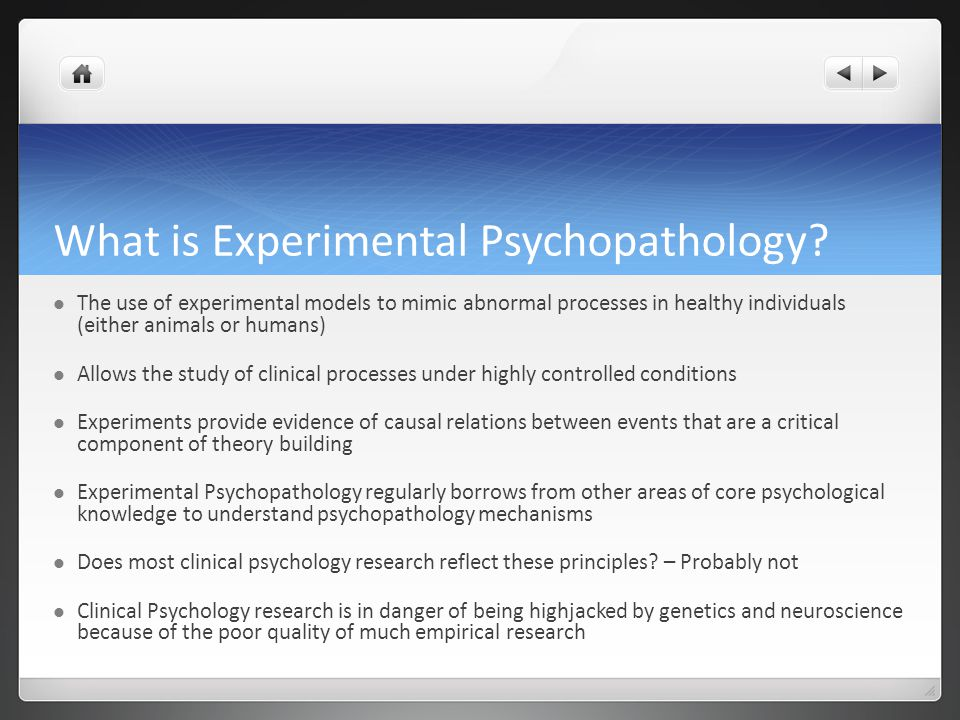 What is Experimental Psychopathology.