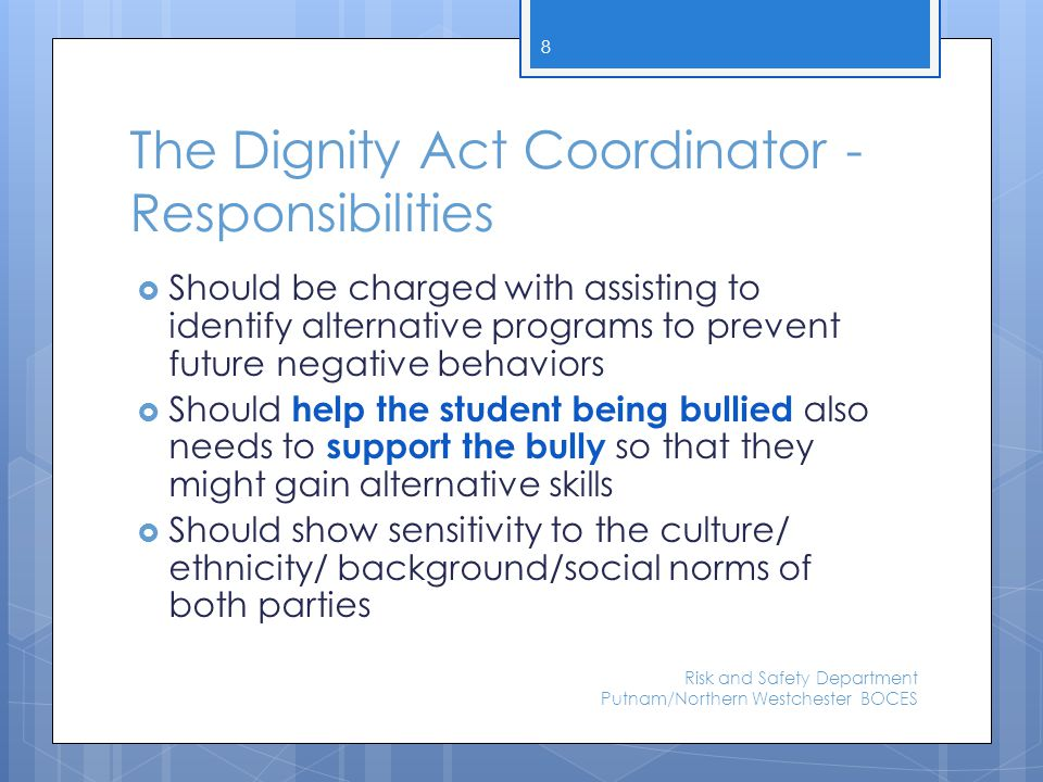 Tracking It is recommended that districts and BOCES review their Codes of Conduct to ensure that they contain provisions for reporting incidents of discrimination, harassment, and bullying.