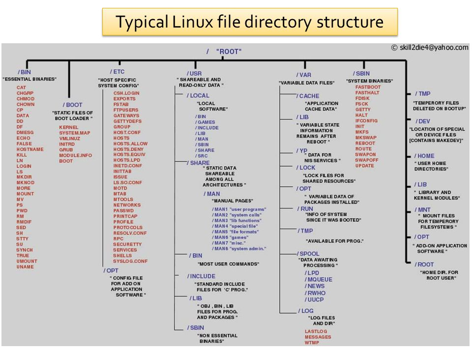 Typical Linux file directory structure