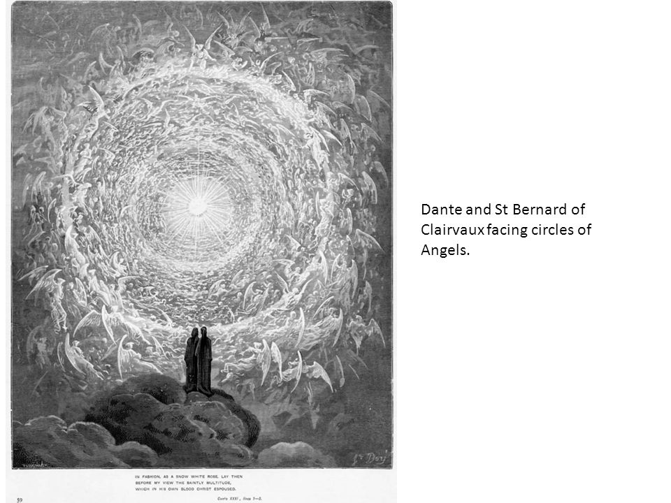 Dante and St Bernard of Clairvaux facing circles of Angels.