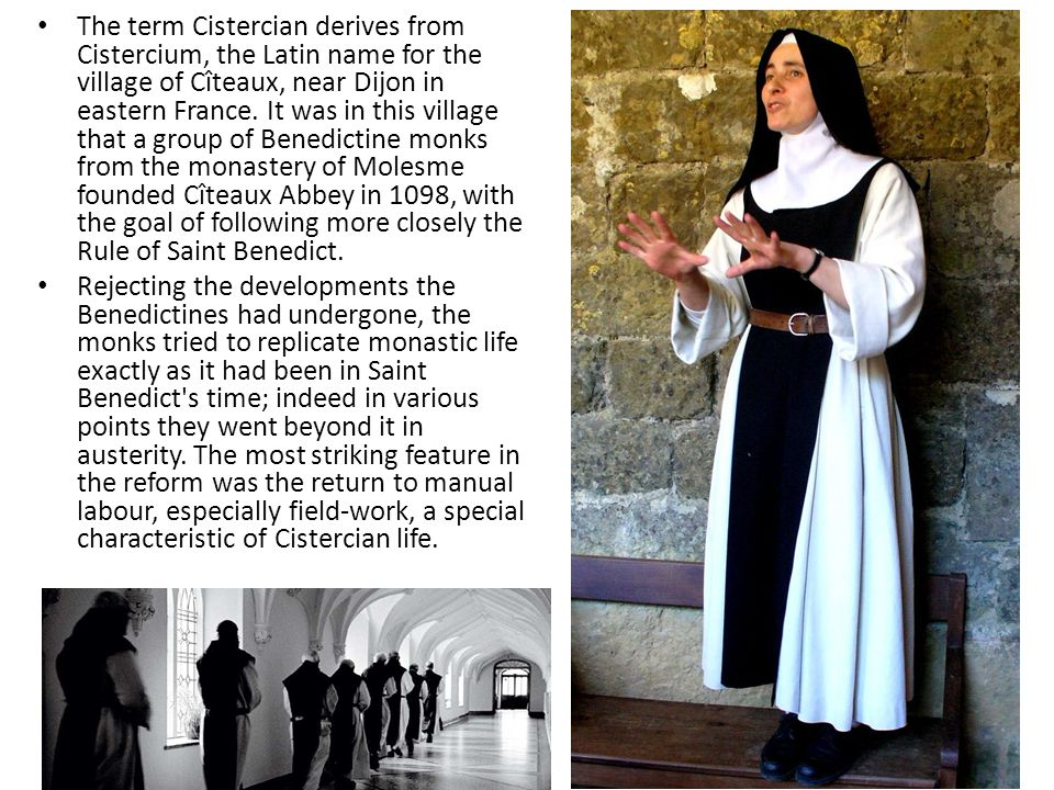 The term Cistercian derives from Cistercium, the Latin name for the village of Cîteaux, near Dijon in eastern France.