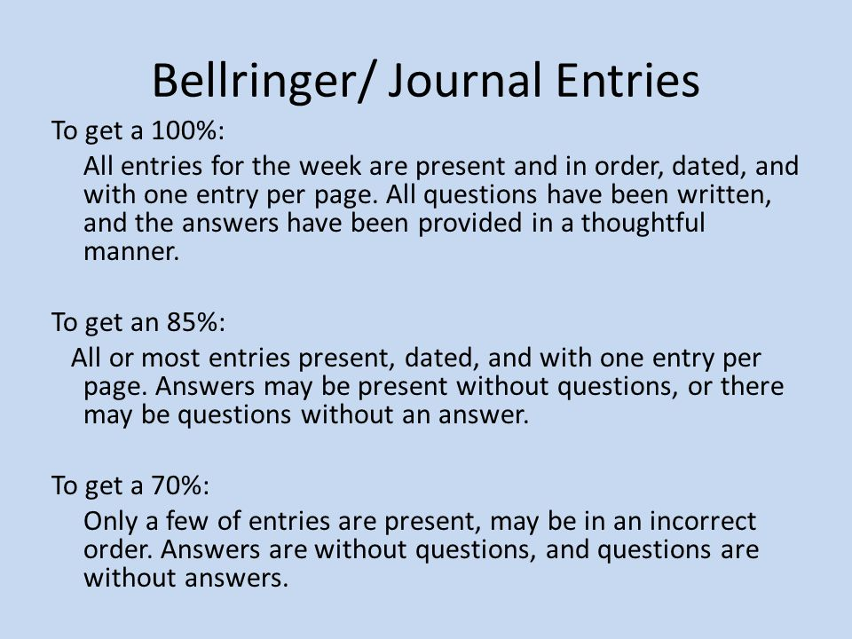 Bellringer/ Journal Entries To get a 100%: All entries for the week are present and in order, dated, and with one entry per page.