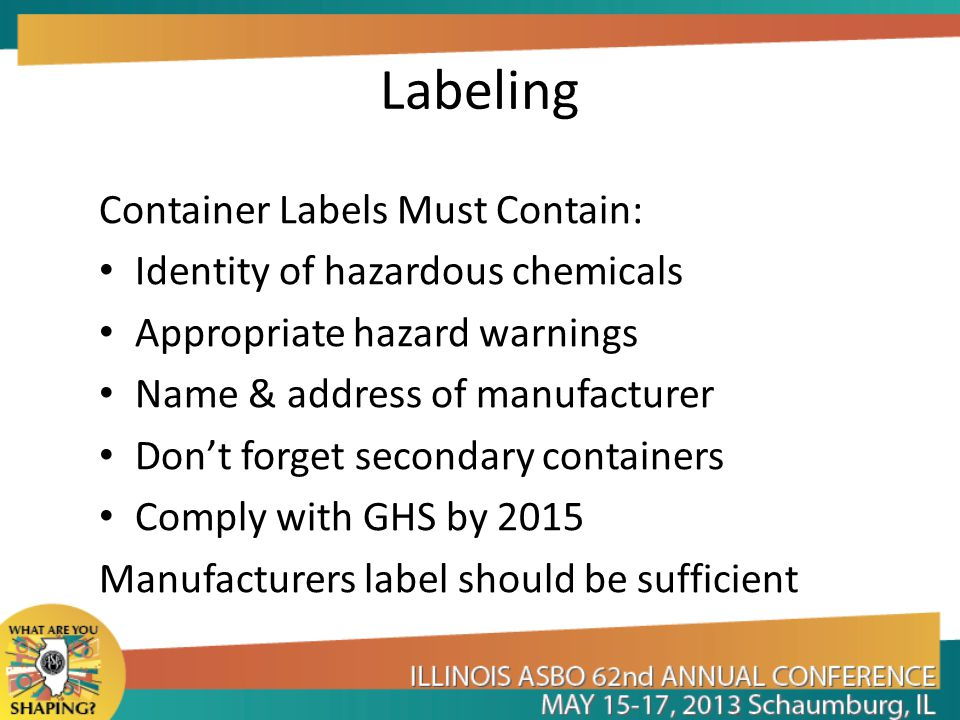 Labeling Container Labels Must Contain: Identity of hazardous chemicals Appropriate hazard warnings Name & address of manufacturer Don't forget secondary containers Comply with GHS by 2015 Manufacturers label should be sufficient