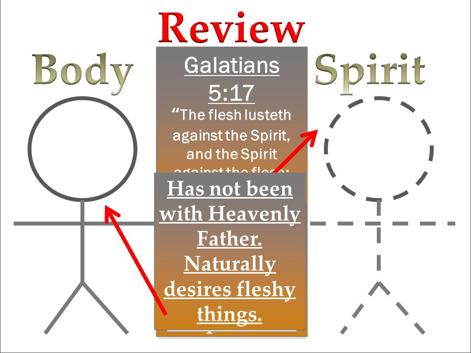 Galatians 5:17 The flesh lusteth against the Spirit, and the Spirit against the flesh: and these are contrary the one to the other Spent time with Heavenly Father.