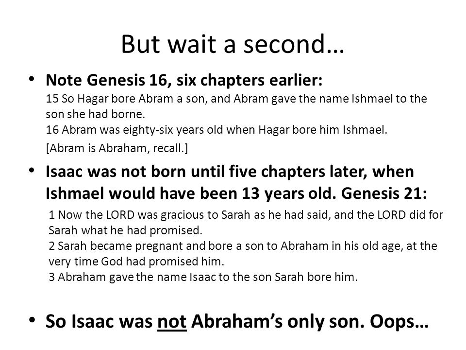 """""""Your Only Son""""? God refers to Isaac as Abraham's"""